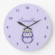 Cute Purple and Lavender Girly Owl Wall Clock