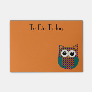 Cute Purple and Orange Floral Owl Post It Note