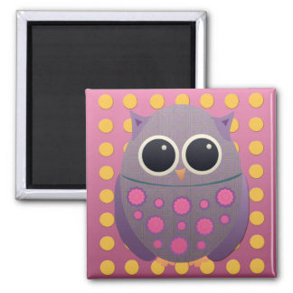 Cute Purple and Pink Owl on Pink with Yellow Dots Magnet