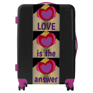 Purple and Red LOVE Hearts Design suitcase