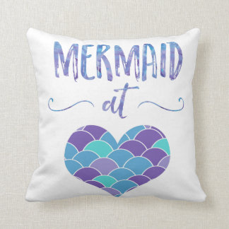Cute Purple and Teal Mermaid at Heart Throw Pillow