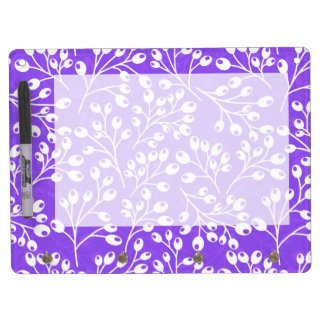 Cute purple and white autumn berries dry erase board with keychain holder