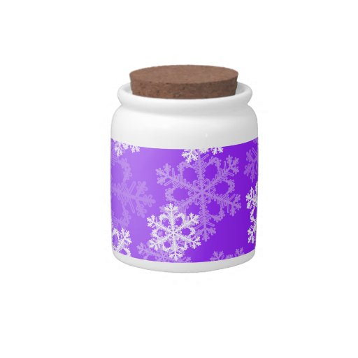 Cute purple and white Christmas snowflakes Candy Dish