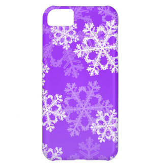 Cute purple and white Christmas snowflakes Cover For iPhone 5C
