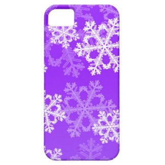 Cute purple and white Christmas snowflakes iPhone SE/5/5s Case