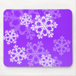 Cute purple and white Christmas snowflakes Mouse Pad