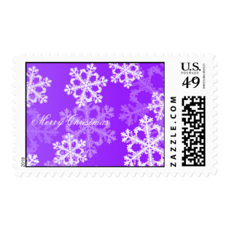 Cute purple and white Christmas snowflakes Stamp