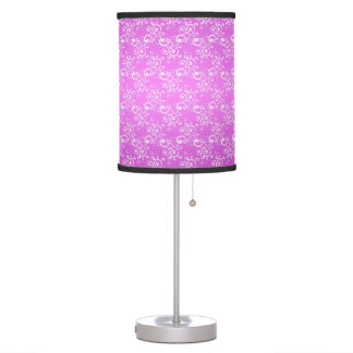 Cute Purple and White Curlie Cue Pattern Table Lamp
