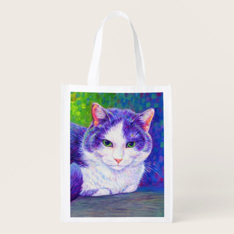 Cute Purple and White Tuxedo Cat Grocery Bag