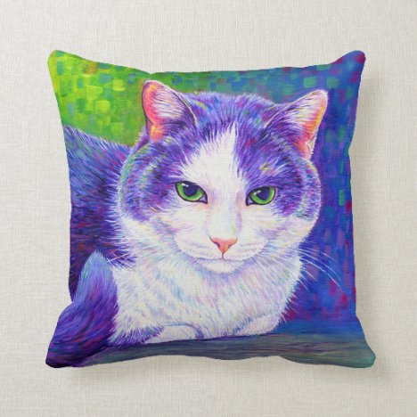 Cute Purple and White Tuxedo Cat Throw Pillow