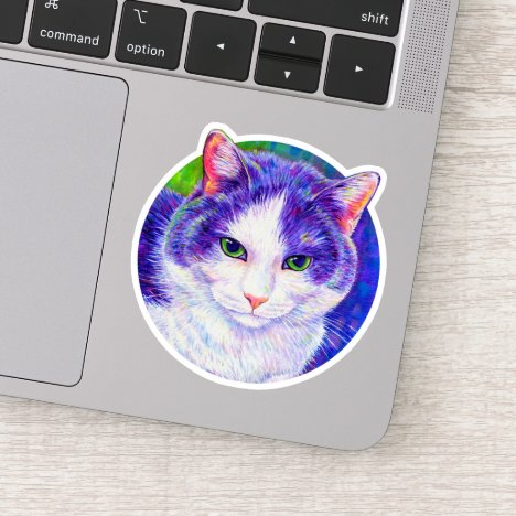 Cute Purple and White Tuxedo Cat Vinyl Sticker