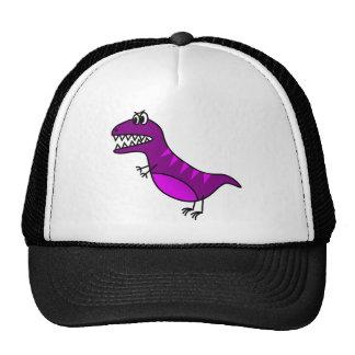 Cute purple angry cartoon dinosaur trucker hat