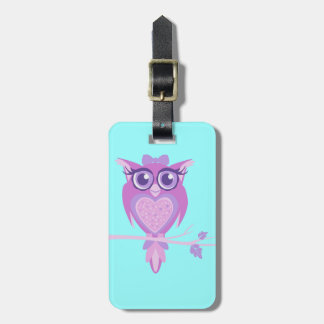 Cute purple aqua kids owl custom luggage tag