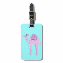 Cute purple aqua whimsy camel custom luggage tag