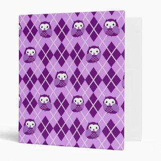 Cute Purple Argyle Owl Pattern Binder