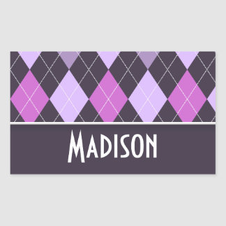 Cute Purple Argyle Rectangular Sticker