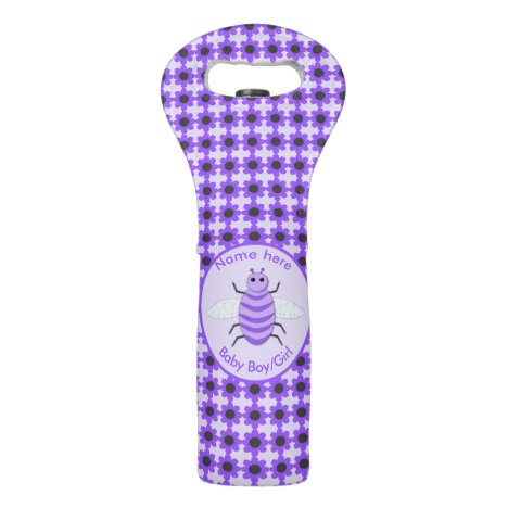 Cute Purple Baby Bee Gender Reveal Neutral Custom Wine Bag