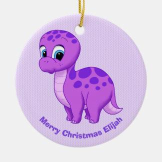 Cute Purple Baby Brontosaurus Dinosaur Ceramic Ornament