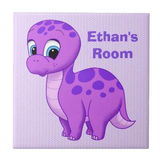 Cute Purple Baby Brontosaurus Dinosaur Ceramic Tile