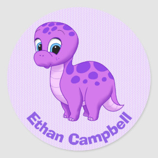 Cute Purple Baby Brontosaurus Dinosaur Classic Round Sticker