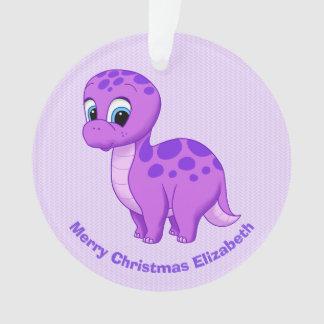 Cute Purple Baby Brontosaurus Dinosaur Ornament