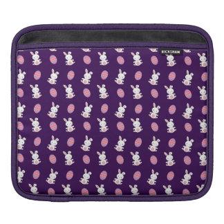 Cute purple baby bunny easter pattern iPad sleeves