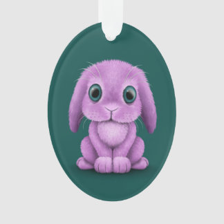 Cute Purple Baby Bunny on Teal