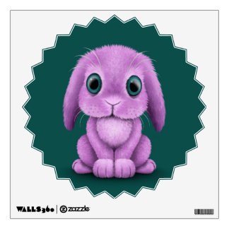Cute Purple Baby Bunny on Teal Wall Graphics