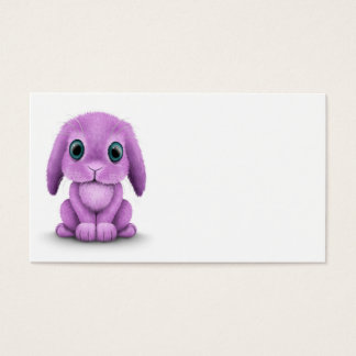 Cute Purple Baby Bunny on White Business Card