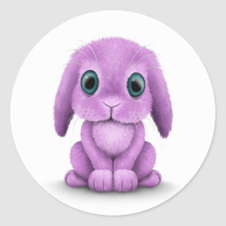 Cute Purple Baby Bunny on White Classic Round Sticker