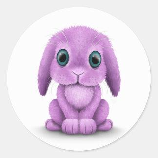 Cute Purple Baby Bunny on White Classic Round Sticker