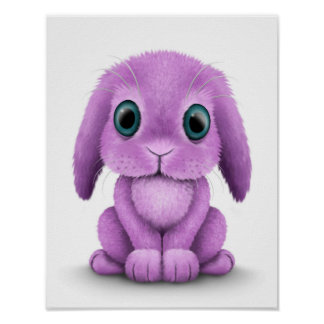 Cute Purple Baby Bunny on White Poster