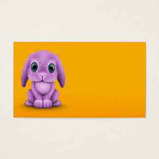 Cute Purple Baby Bunny on Yellow Business Card