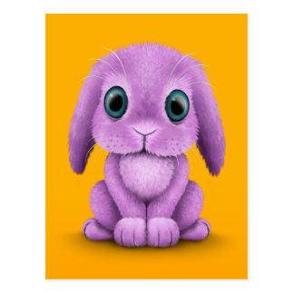 Cute Purple Baby Bunny on Yellow Post Card