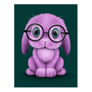 Cute Purple Baby Bunny Wearing Glasses on Teal Postcard