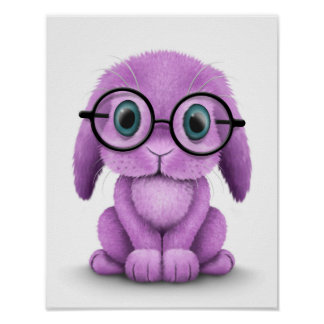 Cute Purple Baby Bunny Wearing Glasses on White Poster