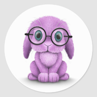 Cute Purple Baby Bunny Wearing Glasses on White Round Stickers