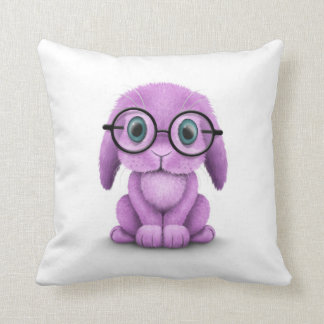 Cute Purple Baby Bunny Wearing Glasses on White Throw Pillow