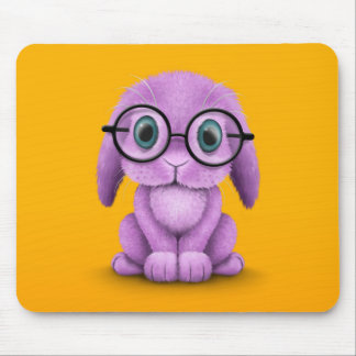 Cute Purple Baby Bunny Wearing Glasses on Yellow Mouse Pad