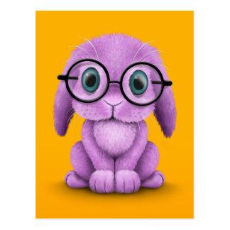 Cute Purple Baby Bunny Wearing Glasses on Yellow Postcard