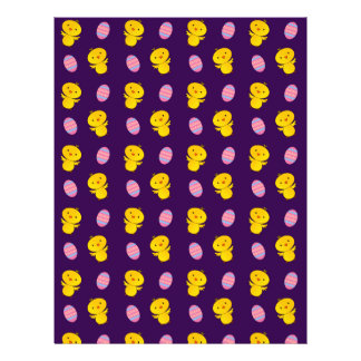 Cute purple baby chick easter pattern custom flyer