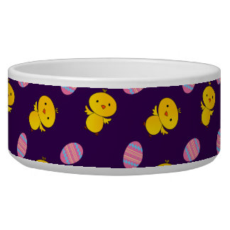 Cute purple baby chick easter pattern pet food bowls