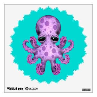 Cute Purple Baby Octopus on Blue Wall Sticker