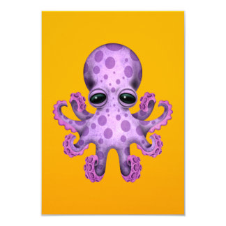 Cute Purple Baby Octopus on Yellow Card
