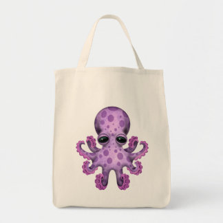 Cute Purple Baby Octopus Tote Bag