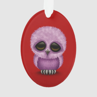 Cute Purple Baby Owl Chic on Red Ornament