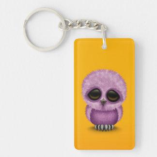 Cute Purple Baby Owl Chic on Yellow Keychain