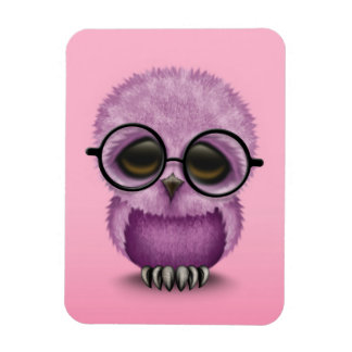 Cute Purple Baby Owl Wearing Glasses on Pink Magnet