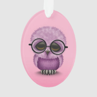 Cute Purple Baby Owl Wearing Glasses on Pink Ornament
