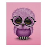Cute Purple Baby Owl Wearing Glasses on Pink Poster